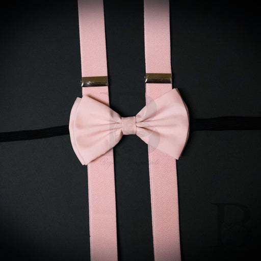 Wedding Blush Pink Matching Set Suspender and Bow Tie