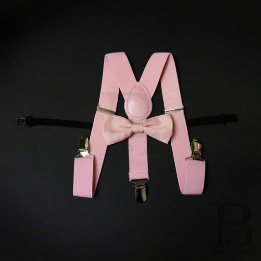 Kids Toddler Suspender and Bow Tie Wedding Blush Pink Matching Set