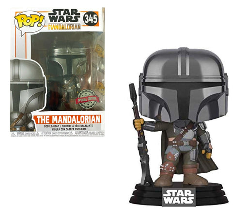 Funko Pop! Star Wars: The Mandalorian - Mandalorian (Chrome), Amazon Exclusive with Special Edition Sticker
