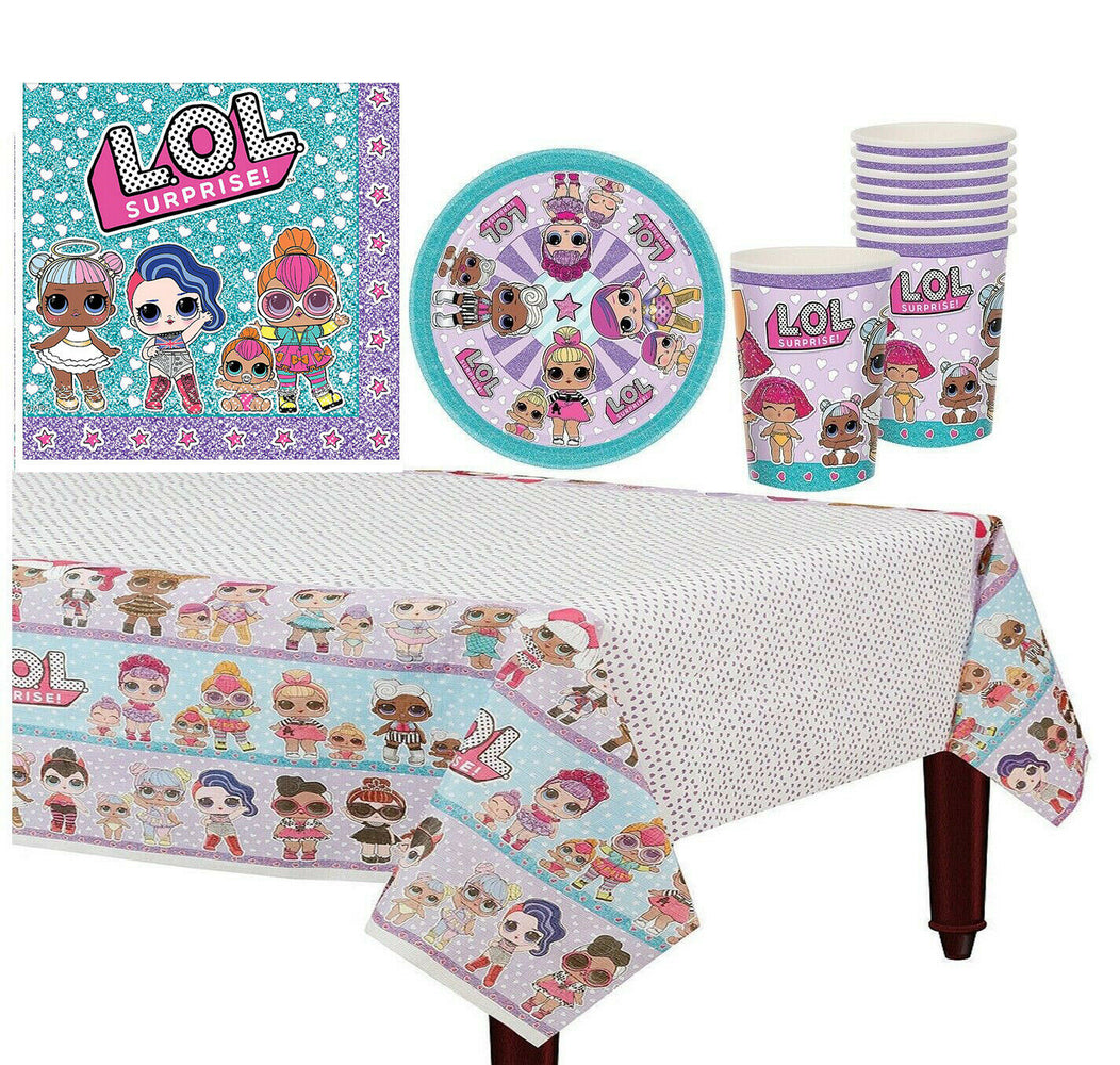 LOL Surprise Girl Tableware Birthday Party Supply Cup Plates Table cover