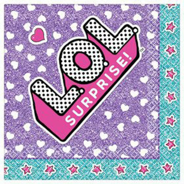 LOL Surprise Dessert Beverage Napkins 16 Per Package Birthday Party Supplies