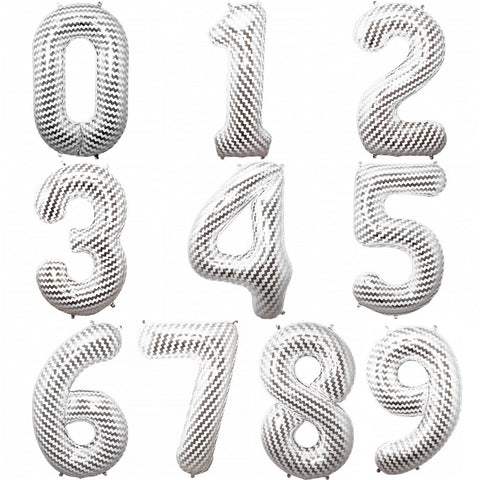 "Giant 34"" Mylar Foil Number Balloons Silver Chevron Pattern"