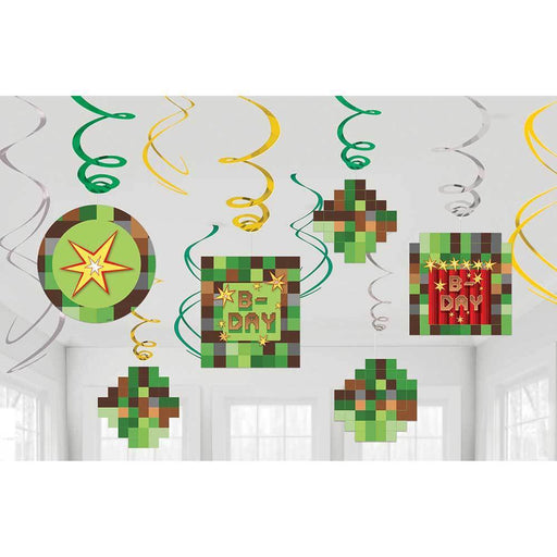 TNT Minecraft 1x Swirl Decoration Birthday Party Supplies Dangler Pack of 12