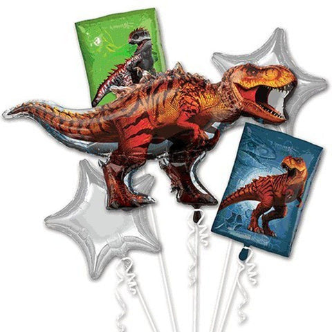 Jurassic World Dinosaurs party Favor 5CT Foil Balloon Bouquet