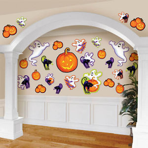 Halloween Spooky Ghosts and Jack O Lantern Pumpkins Decoration Cutouts - 30 pcs Set