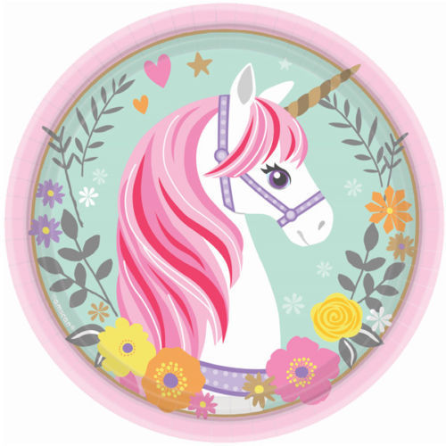 Magical Unicorn Party Supplies Tableware Dessert Plates 8CT