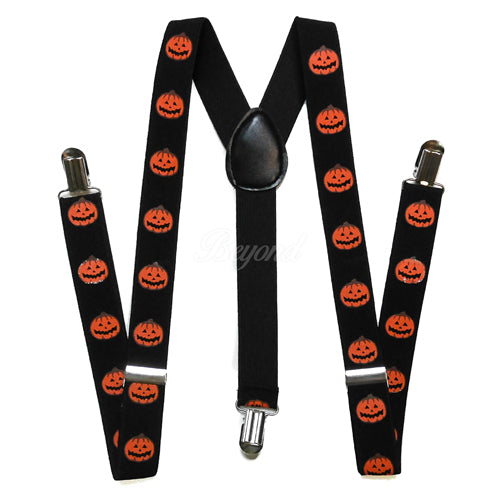 Halloween Novelty Pumpkin Bow Tie And Suspender Matching Set Tuxedo