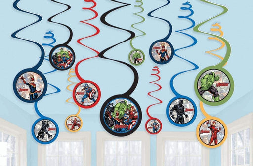 "Marvel Avengers Powers Unite™ Spiral Decorations 12x Spirals w/ 5"" cutout"