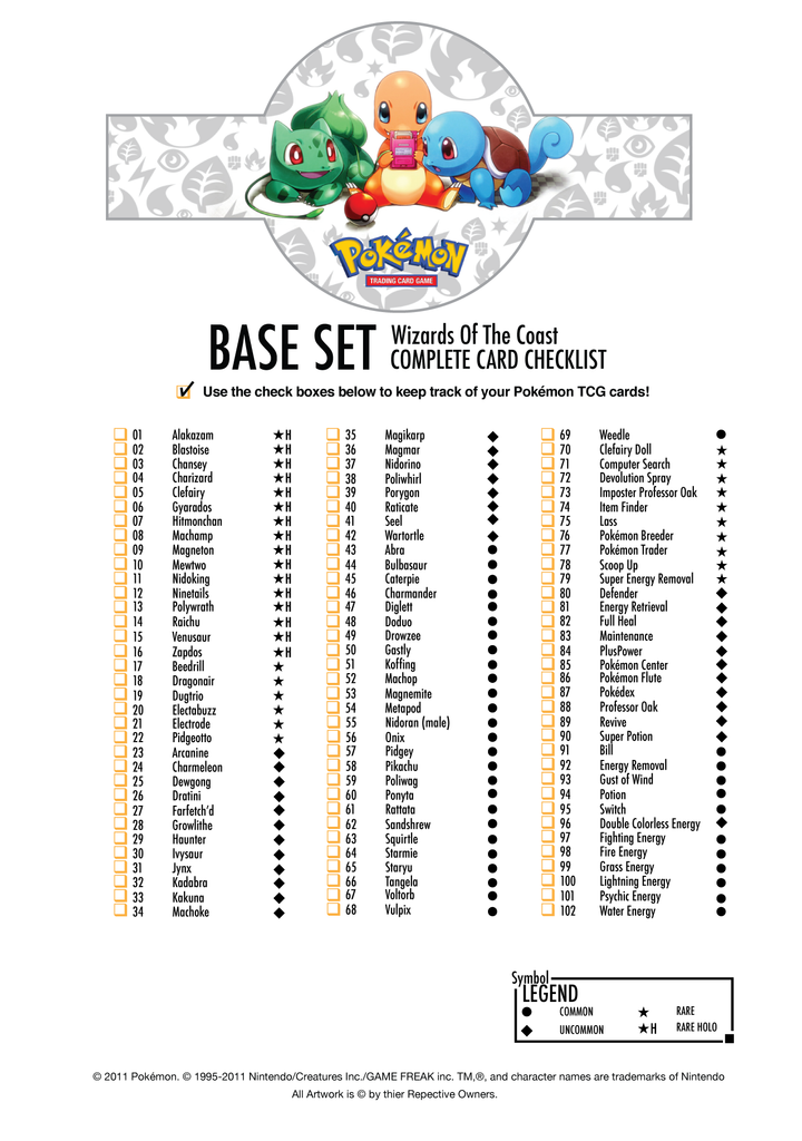 Pokemon Base Set Card List