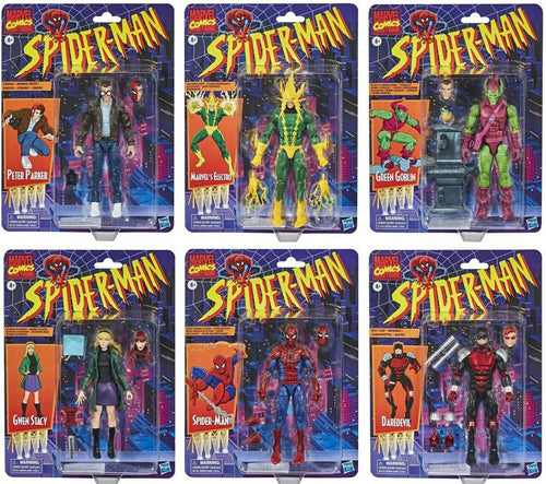 Spider-Man Marvel Legends Retro Wave 1 Set of 6 Action Figures