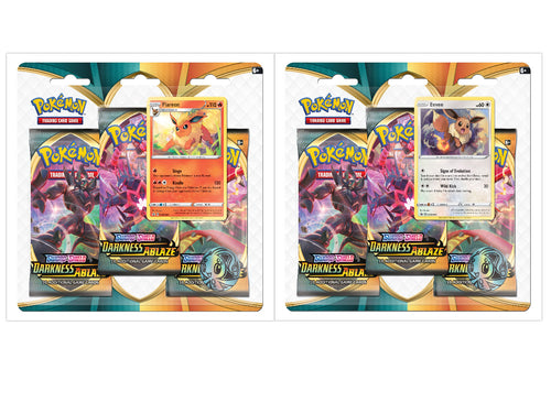 Pokemon TCG Sword & Shield Darkness Ablaze 3-Pack Blister Packs Set of 2 SWSH3