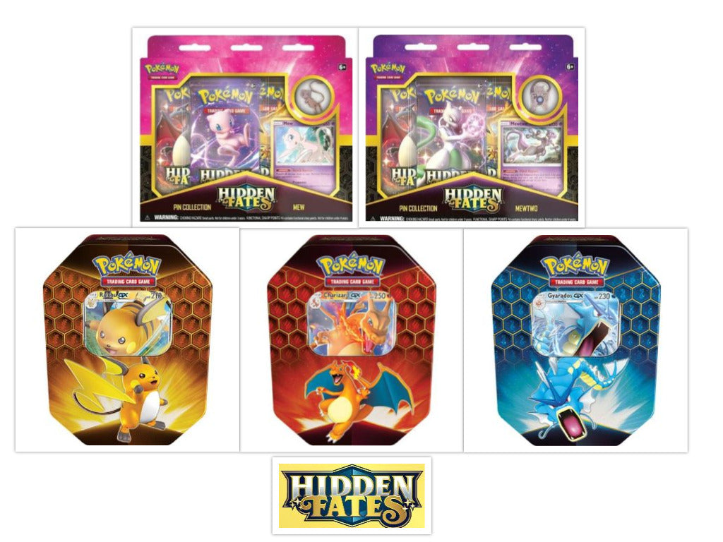 Pokemon TCG Hidden Fates Collectors Bundle 3 Tins + 2 Pin Collections