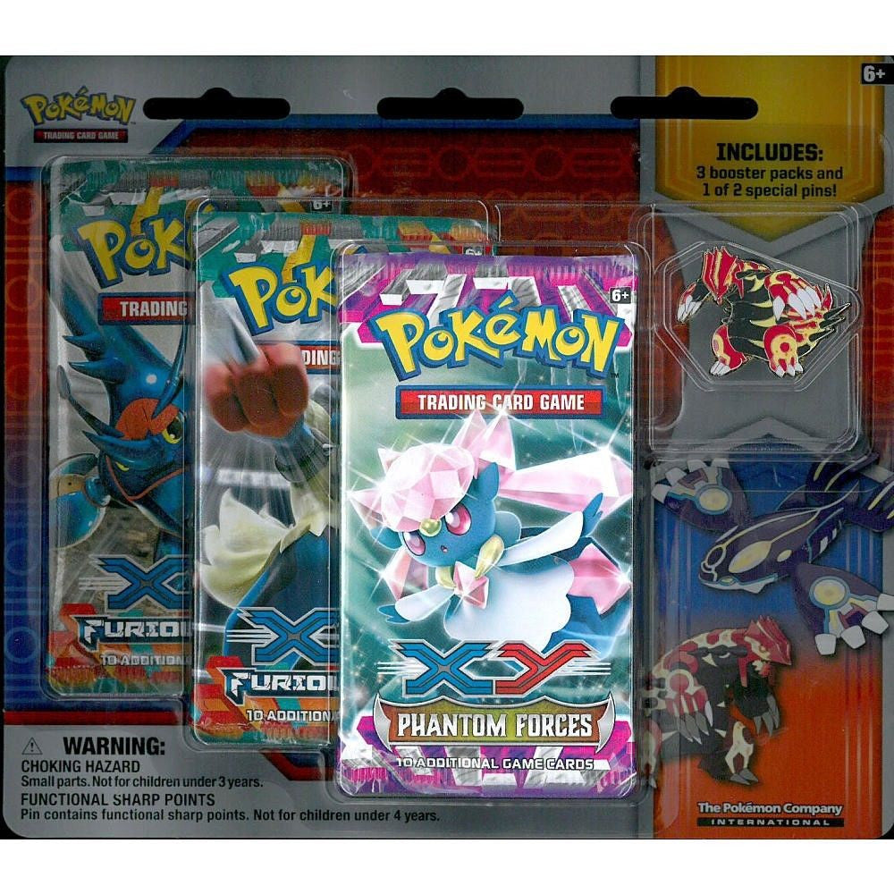 Primal Groudon Blister Booster Pack Pin Pokemon TCG Phantom Forces Furious Fists - WORN PACKAGING