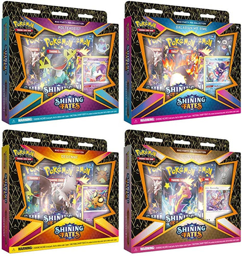 Pokemon TCG Shining Fates Mad Party Pin Collection Boxes Set of 4