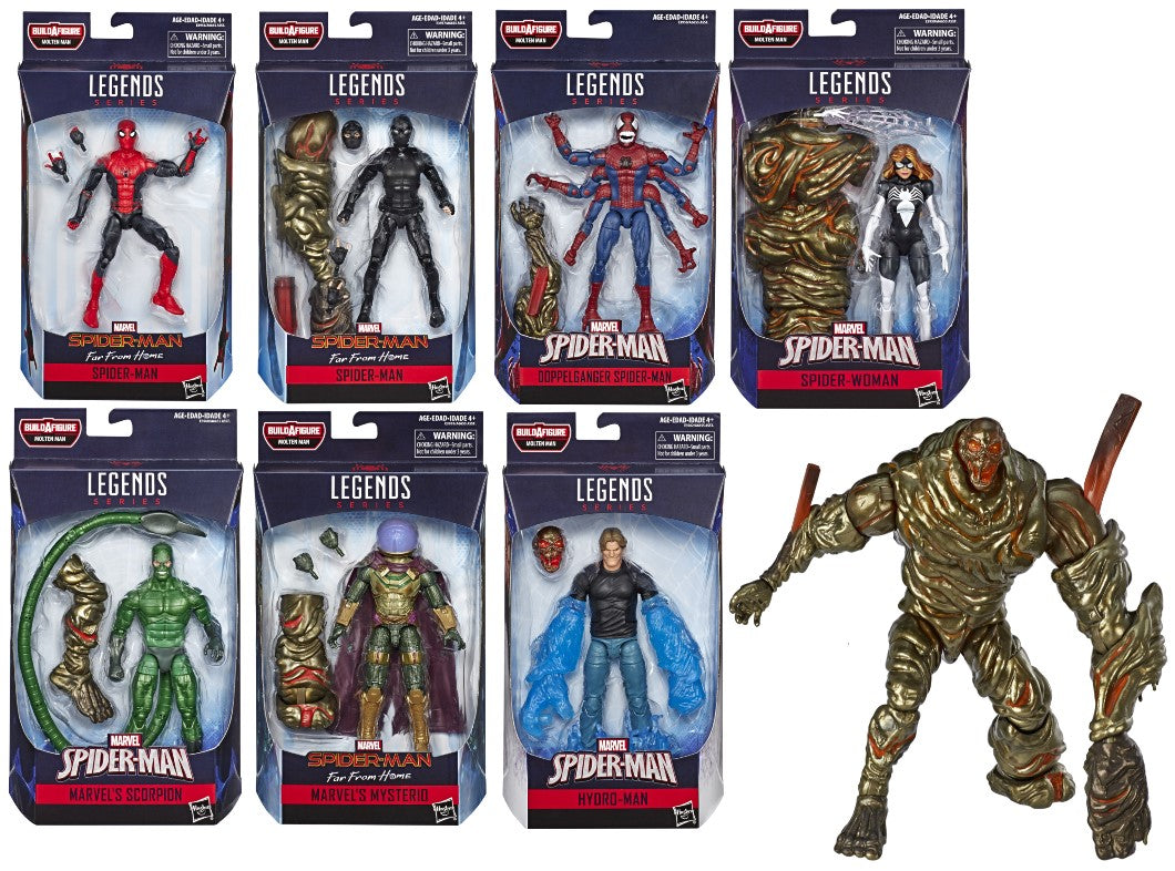 Spiderman Marvel Legends Far From Home Wave 12 Set of 7 Figures Molten Man BAF