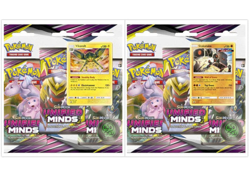 Pokemon TCG Unified Minds Blister Pack Set of 2 Sun & Moon Sealed
