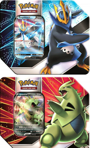 Pokemon TCG V Strikers Tins Set of 2 Tyranitar V and Empoleon V