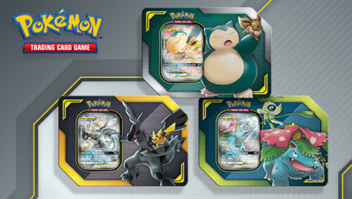 Pokemon TCG Tag Team Tins Set of 3 Pikachu & Zekrom GX, Celebi & Venusaur Team Up