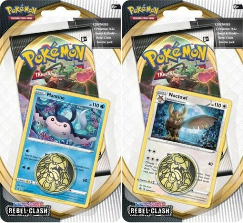 Pokemon TCG Sword & Shield Rebel Clash Checklane Blister Set of 2 Noctowl Mantine Promos