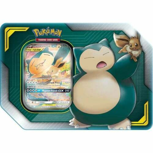 Pokemon TCG Tag Team Tin Eevee & Snorlax GX 4 Booster Packs Sealed Team Up