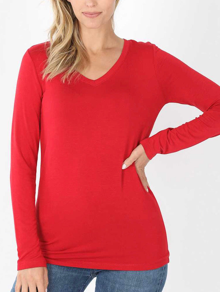 Red rayon long sleeve