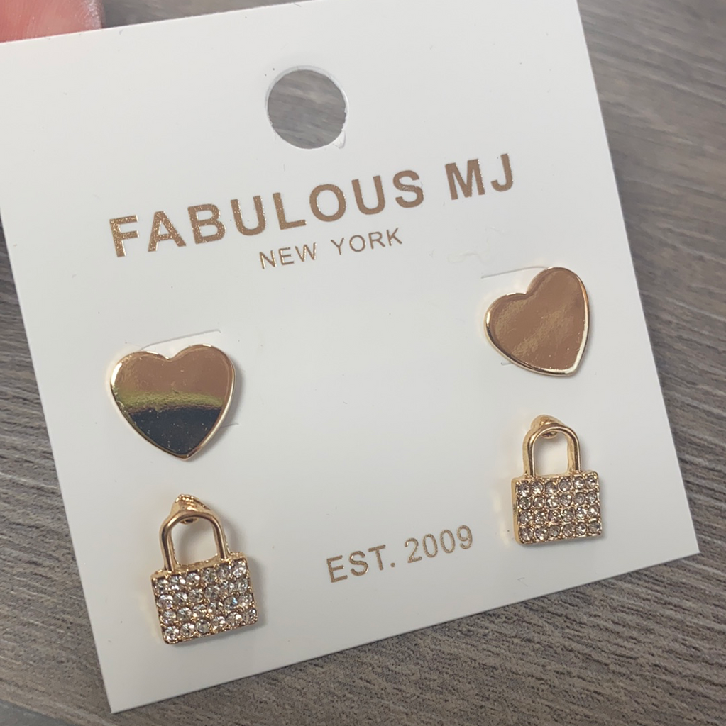 Heart and Lock Earrings