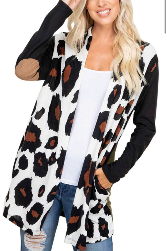 Animal Print Cardigan with Suede Elbow