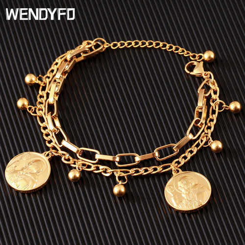 New Arrive Double Stainless Steel Religious Bracelet For Women Female Gold Color Beads Bracelet Jesus Pendant Lady Jewelry Gift