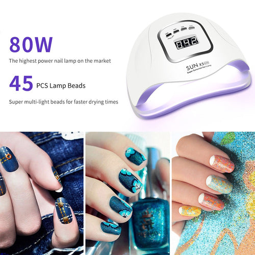 LED Nail Lamp for Manicure 80/54/36W Nail Dryer Machine UV Lamp For Curing UV Gel Nail Polish With Motion sensing LCD Display