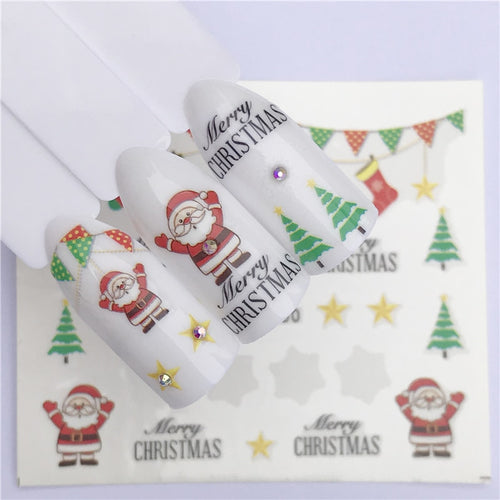 YZWLE 1 Sheet Winter Snowflake Full Wraps Nail Art Water Transfer Stickers Christmas Style Manicure Decal DIY