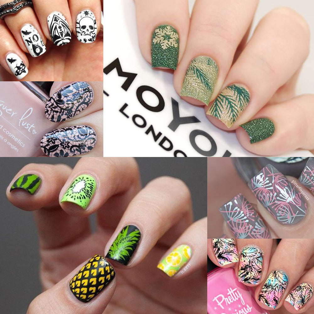 1 Set Nail Stamping Plates Geometry Lace Flower Dream Catcher with Jelly Stamper Scrapper Sponge Manicure Image Plate Tool JI804