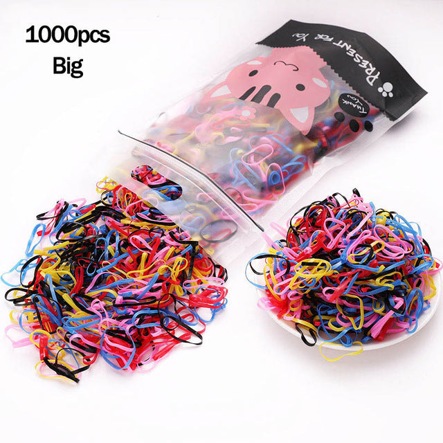 1000pcs/Pack Girls Colorful Small Disposable Rubber Bands Gum For Ponytail Holder Elastic Hair Bands Fashion Hair Accessories