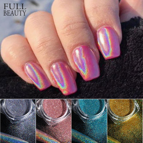 Holographic Powder on Nails Laser Silver Glitter Chrome Nail Powder DIP Shimmer Gel Polish Flakes for Manicure Pigment CH1028-3