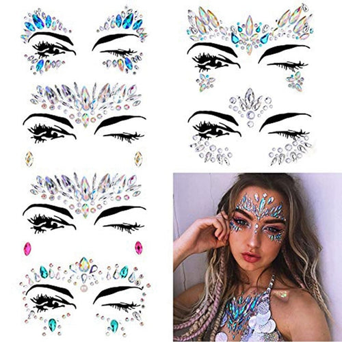 6 Sets Women Mermaid Face Gems Glitter,Rhinestone Rave Festival Face Jewels,Crystals Face Stickers,Eyes Face Body Temporary Ta