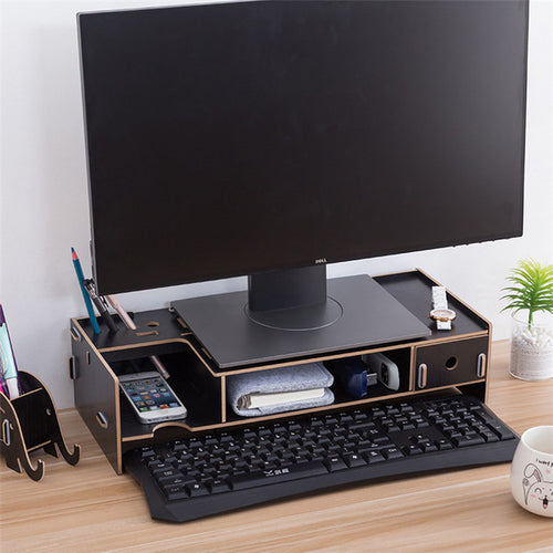 Multi-function Monitor Stand computer laptop support wooden handwork Assemble stand with storage drawer installation convent
