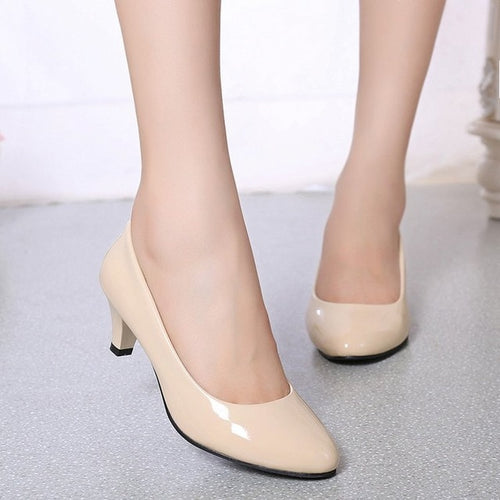 2019 spring new comfortable shallow mouth high heels Korean fashion casual black womens single shoes 5cm professional work shoes