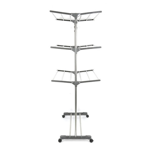 Stainless Steel Clothing Storage Racks Clothes Drying Folding Horse Hanger Adjustable Wardrobe Laundry Drying Rack 3 Tiers HWC