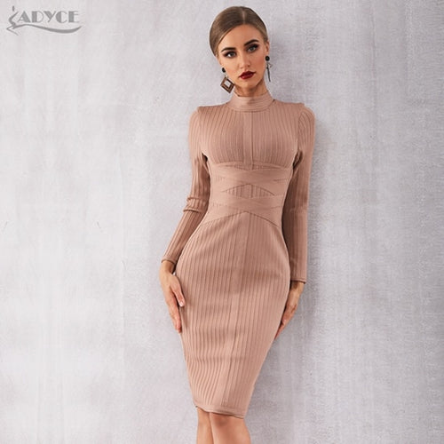 Adyce 2019 New Winter Bodycon Bandage Dress Women Sexy Nude Long Sleeve Midi Club Dress Vestidos Celebrity Evening Party Dresses