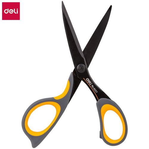 DELI Scissors E6027 Teflon coated Soft-touch 175mm 6-4/5 inch home office scissor hand craft scissors stationery