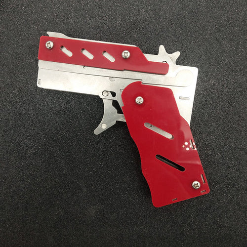 Stainless steel 1pcs/set  Rubber Band Launcher  Gun Hand Pistol Guns Shooting Toy Gifts Boys Outdoor Fun Sports For Kids