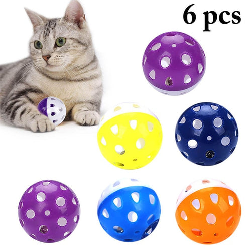 6pcs Toys for Cats Ball with Bell Ring Playing Chew Rattle Scratch Plastic Ball Interactive Cat Training Toys Pet Cat Supply