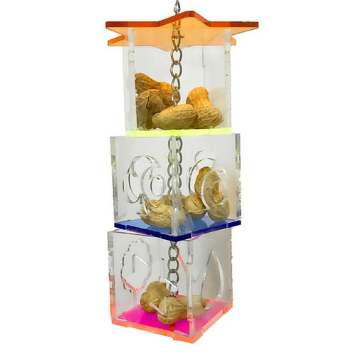 3 Layer Parrot Hanging Chewing Feeding Toy Bird Feeding Transparent Food Feeder Holder Hanging Forage Star Shaped Box Cage Toy
