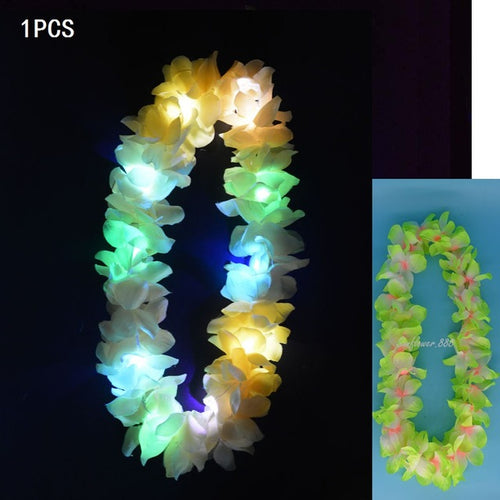 Light Glowing LED Hawaii Hula Luau Flower Leis Garland Necklace Floral Wreath Wedding Rave Neon Birthday Party Decoration