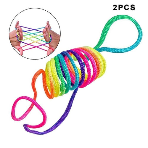 1/2/5Pcs Rainbow Rope Kid's Toys Finger Rope Game Thread Toy Puzzle Creates Various Figures Board Game Team Interaction Game 4