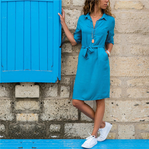 Fashion Turn-down Collar Party Shirt Dress Women Solid Three Quarter Sleeve Autumn Dress Plus Size Loose Casual Vestidos Robe