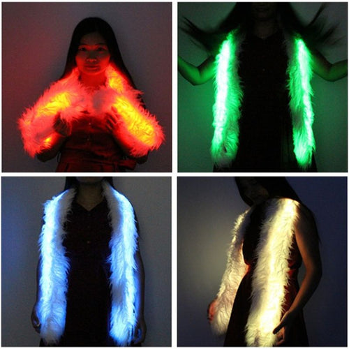 Led Scarf Light Up Boa Glow Up Flashing Fun Novelty Scarves For Rave Accessory Clothing Outfit Burning Man Costume Festival Part