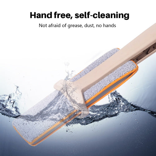 Self-Wringing Double Sided Flat Mop Non Hand Telescopic Comfortable Handle Mop Floor Cleaning Tool For Living Room Kitchen