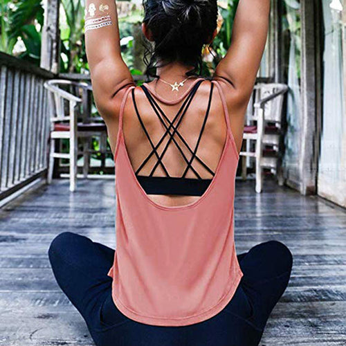 Women Open back Activewear women's padd yoga top tank woman sports vests fitness running shirt gym workout clothes