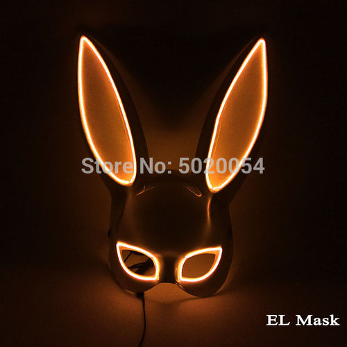 10 Colors Options Neon Led Rave Mask Women Night Club Sex EL Wire Mask Bunny Cospaly Glowing Mask
