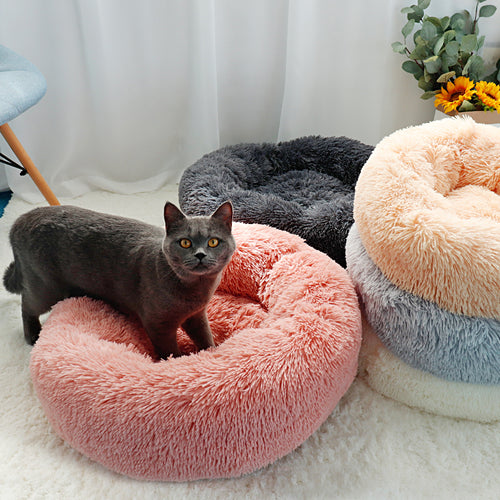 Long Plush Cat Bed House Soft Round Cat Bed Winter Pet Dog Cushion Mats For Small Dogs Cats Nest Warm Puppy Kennel 50/60/70cm